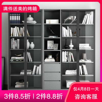 木月 簡約現代書柜 北歐小戶型玻璃門書架書房書櫥儲物柜文件柜組合 書房家具 墨簡系列