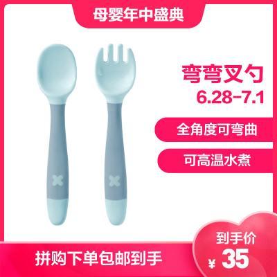 babycare寶寶學吃飯訓練勺子彎頭叉勺套裝嬰兒輔食勺彎曲兒童餐具-云霧綠