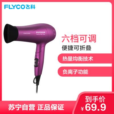 飛科 FLYCO 電吹風FH6618 2000W大功率負離子雙重防過熱保護健康柔風六檔變速控溫可折疊家用吹風機
