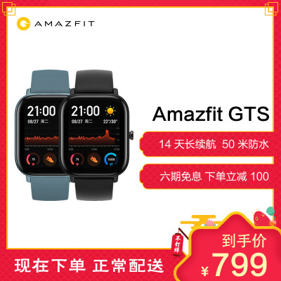 华米Amazfit GTS 智能手表 运动手表 14天续航 GPS 50米防水 NFC 曜石黑