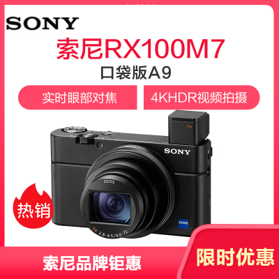 索尼(SONY) DSC-RX100M7 黑卡數碼相機(24-200mm蔡司鏡頭 實時眼部對焦 RX10VII/黑卡7)
