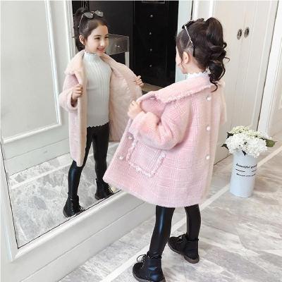女童外套冬装2019秋冬新款加厚呢子儿童毛呢仿水貂 绒洋气呢大衣个性 莎丞