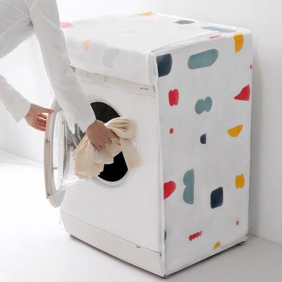洗衣机罩波轮全自动上开滚筒防晒几何碎花通用套子 滚轮式颜色随机 62*56*83