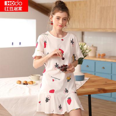 紅豆居家(Hodohome)20年春夏新款女士純棉印花休閑時尚可外穿短袖家居睡裙