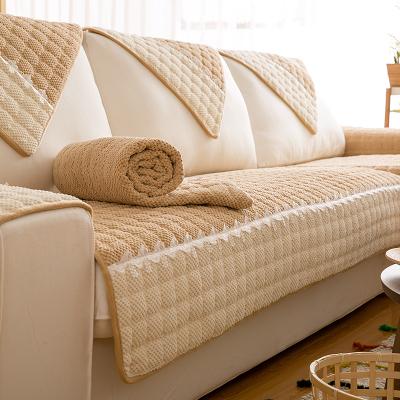 沙发垫北欧防滑布艺四季通用全包万能套罩巾皮实木靠背坐垫子定做 驼色 70*150