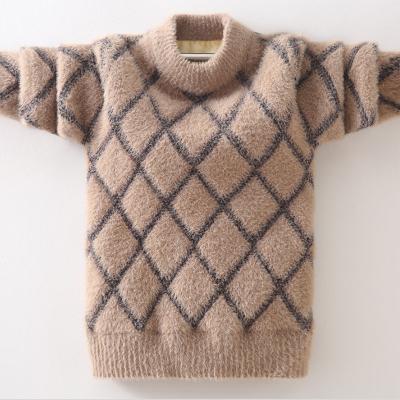 男童毛衣秋装儿童仿水貂绒毛衣男孩中大童装加绒加厚洋气宝宝打底衫 威珺