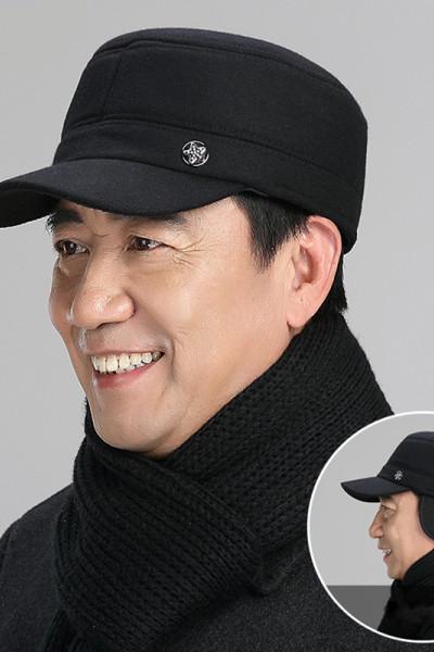 老人帽子男中老年人冬季老頭棉帽中年保暖平頂棒球帽 莎丞