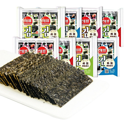 海牌海苔(原味)2g*32韓國進口孜然番茄魷魚味兒童休閑海味紫菜零食小吃