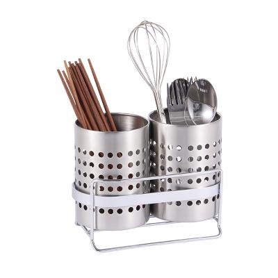 欧润哲(ORANGE) 2只装不锈钢筷子筒 家用筷笼 锅铲勺收纳筒 沥水架配底座厨房置物架 家庭整理用具