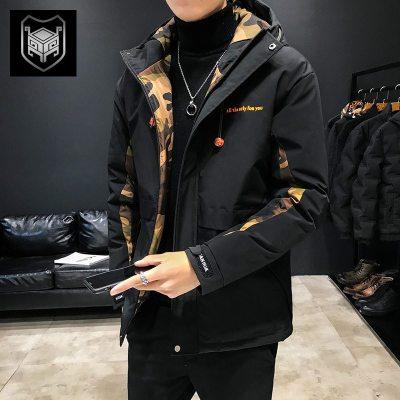 冬季新款棉衣男士外套短款加厚羽绒棉服迷彩工装潮流棉袄