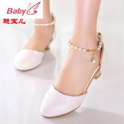女童鞋皮鞋2020春夏新款潮韓版中大童女孩小高跟公主鞋兒童單鞋女 SUNTEK