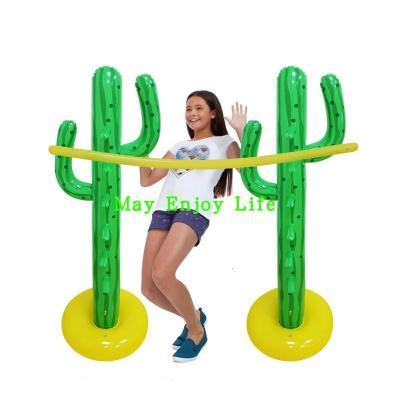 充氣仙人掌橫桿過桿跳高游戲親子運動水上游藝設施游泳池戲水玩具【定制】 綠色仙人掌橫跳高