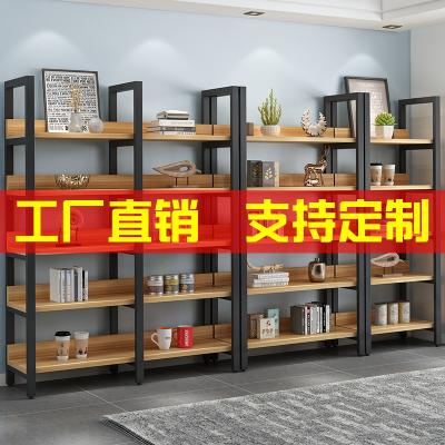 房間鋼木書架落地簡易鐵藝木架子多層木質貨架置物架展示架陳列架
