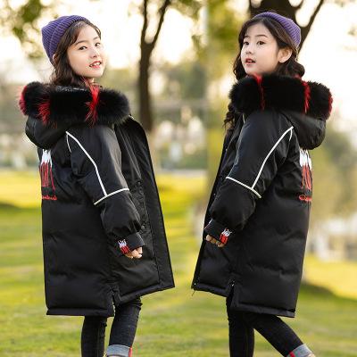 Amyoung女童羽绒服中长款2019新款韩版儿童中大童宝宝大毛领童装外套潮范