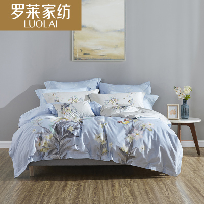 羅萊家紡全棉斜紋面料床上用品床單被套四件套件雙人1.5米1.8m床4件套雅致藍 粉色