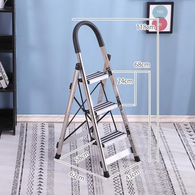 閃電客不銹鋼室內人字梯子家用折疊加厚四五步多功能伸縮工程爬梯扶樓梯 不銹鋼三步梯黑色