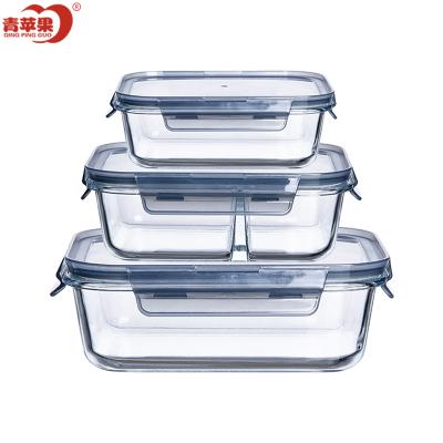青蘋果上班族玻璃飯盒微波爐加熱專用保鮮分隔型便當帶蓋餐格碗套裝