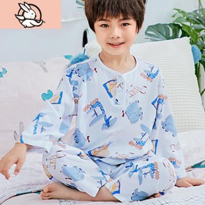 夏季兒童棉綢睡衣男童女童寶寶綿綢小孩長袖夏天薄款男孩空調套裝 花漾兔
