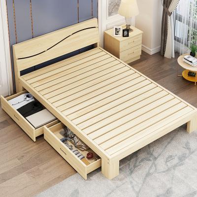 凡居樂 簡約現代1.8米雙人床家用1.5米經濟型拼接成人床1.2米單人床臥室簡易宿舍床架環保木質1米床實木床