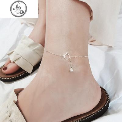 貓咪鈴鐺腳鏈925純銀腳飾女森系可愛甜美氣質百搭韓國銀飾品   JiMi