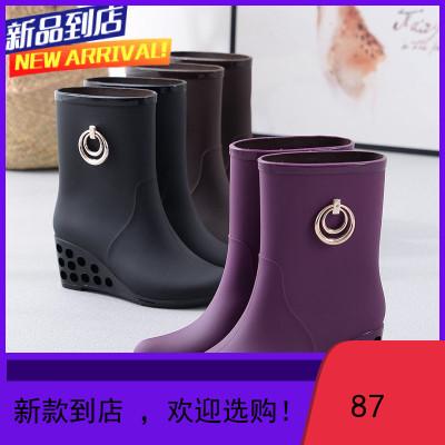 時尚雨鞋女式短筒水鞋雨靴高跟膠鞋套鞋中筒水靴防滑防水坡跟雨鞋商品由多個顏色 尺碼 規格拍下請備注或聯系在線客服咨詢