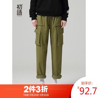 初語工裝褲女秋季新款口袋時尚帥氣顯瘦直筒寬松bf風休閑褲