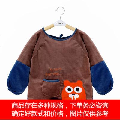 兒童罩衣秋冬季水晶絨長袖防水寶寶吃飯反穿衣男女孩防臟罩衫護衣