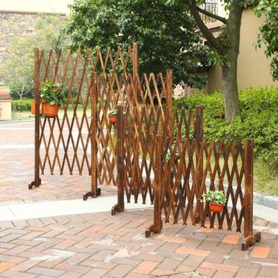 HOTBEE防腐木新款栅栏伸缩围栏碳化拉网木篱笆园艺拉户外护栏庭院装饰
