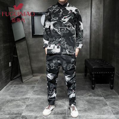 富貴鳥2020新款中國風兩件套男士春季大碼寬松休閑盤扣中式立領古風唐裝漢服套裝 如圖色