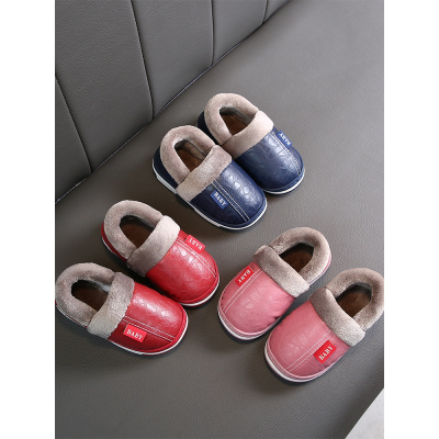 邁凱恩品牌兒童棉拖鞋包跟男室內皮面防水家居鞋1-3歲2防滑保暖親子拖鞋冬季