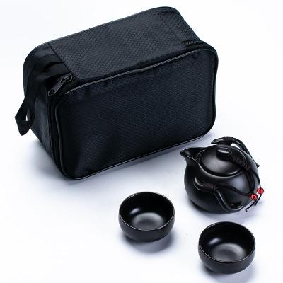 便攜旅行茶具套裝亞光陶瓷功夫茶具一壺四杯辦公商務禮品logo定制 黑色一壺二杯黑色旅行包