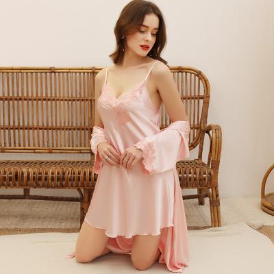 上海故事仿真絲睡衣女士夏季薄款性感吊帶睡裙子睡袍兩件套裝