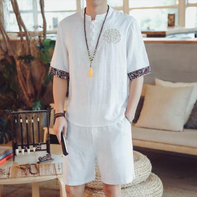 X-MAN2020新款夏季中國風男裝亞麻套裝胖子大碼寬松刺繡棉麻短袖t恤中式盤扣上衣夏tz05