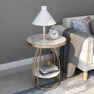 北歐輕奢沙發邊幾雙層角幾ins大理石茶幾床頭柜陽臺鐵藝小圓桌