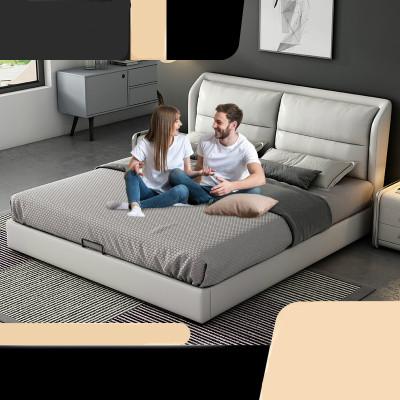 現代皮床北歐真皮床1.8米婚床小戶型1.5簡約儲物意式榻榻米雙人床
