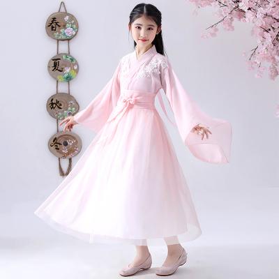 女童漢服中國風兒童仙女古裝超仙春裝淡雅古風夏季飄逸10-15歲12