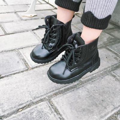寶寶皮鞋真皮韓版男童中筒靴女童休閑時尚系帶鞋子1-2-3歲秋冬潮