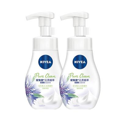 妮維雅(NIVEA)云柔植萃氨基酸潔面泡泡洗面奶180ml(清爽凈透)雙支裝
