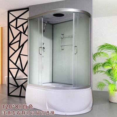 整体淋浴房带冲浪蒸汽洗澡间一体式浴室桑拿房泡澡带浴缸钢化玻璃 80*120白色简约 不含蒸汽