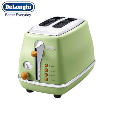 德龍(DeLonghi)烤面包機多士爐CTO2003復古橄欖綠.VGR 早餐加熱烘烤土司面包片機雙槽兩片式多檔調節