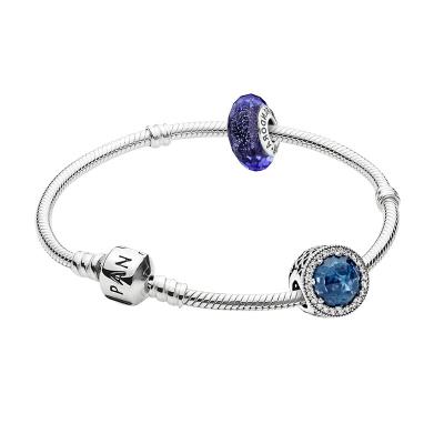 PANDORA潘多拉 成品手鏈女925銀串珠成品成品手鏈深藍摯愛