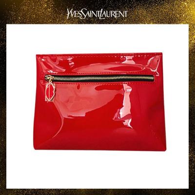 圣羅蘭(YSL)紅色皮質紅唇拉鏈手拿包