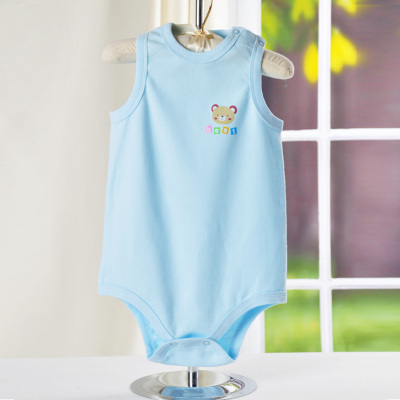 龍之涵(LONGZHIHAN)夏季款嬰兒衣服男女寶寶純棉無袖包屁衣爬服2020新款兒童內衣