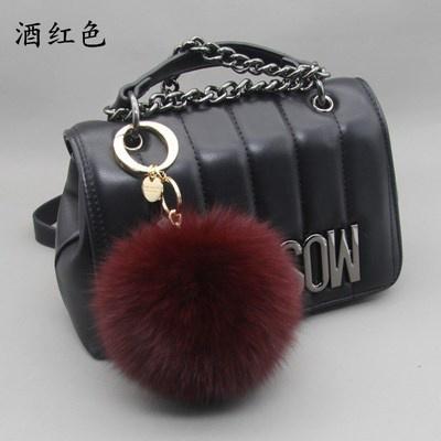 【精品好貨】13cm超大狐貍毛球包包掛件汽車鑰匙扣女可愛創意真毛絨書包掛飾品 酒紅11cm狐貍整皮