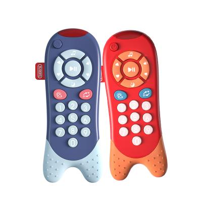 貝恩施 兒童玩具寶寶遙控器嬰幼兒硅膠可啃咬音樂玩具中英雙語早教啟智學習玩具 黛藍色