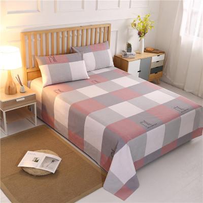 芷瑤 純棉老粗布單人床單雙人床罩床裙1.8m床全棉床上用品1.5m米床條紋/格子床罩