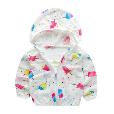 口袋虎0-13歲女童夏季防曬衣連帽輕薄空調衫寶寶男童薄款防曬外套