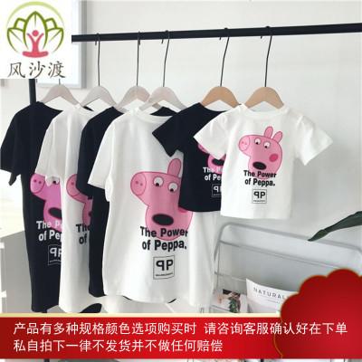 小猪佩奇哺乳装婴儿亲子装一家三口夏潮洋气连体衣爬服母子装图片件数为展示