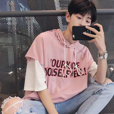 夏季男士短袖T恤韓版學生連帽衛衣五分袖假兩件潮男裝半袖威珺