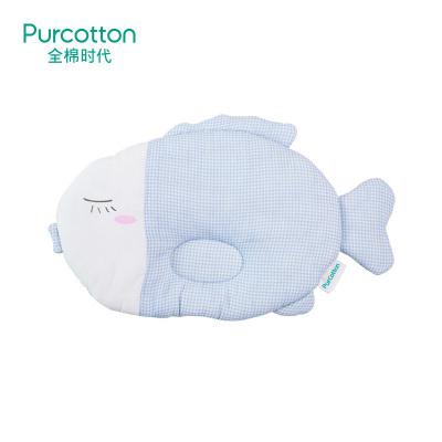 全棉時代 嬰兒藍白格小魚紗布定型枕34x21cm,1件/袋